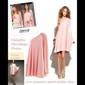 ISO Halston Heritage 1 Shoulder Peach Kaftan Dress